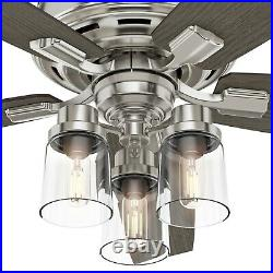 Hunter Fan 52 inch Brushed Nickel Indoor Ceiling Fan with Light Kit and Remote