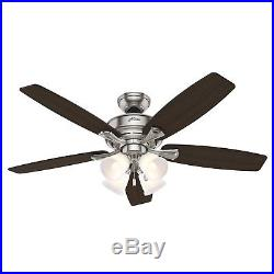 Hunter Fan 52 inch Casual Brushed Nickel Indoor Ceiling Fan with Light Kit