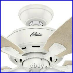 Hunter Fan 52 inch Casual Fresh White Ceiling Fan with Light Kit and Pull Chain