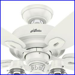 Hunter Fan 52 inch Casual Fresh White Indoor Ceiling Fan with Light Kit