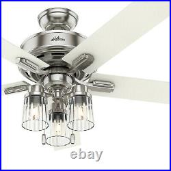 Hunter Fan 52 inch Casual Indoor Brushed Nickel Ceiling Fan with Light Kit