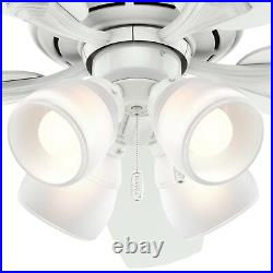 Hunter Fan 52 inch Casual Indoor White Ceiling Fan with Light Kit and Pull Chain