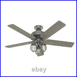 Hunter Fan 52 inch Casual Matte Silver Ceiling Fan with Light Kit and Pull Chain
