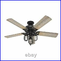 Hunter Fan 52 inch Casual Natural Iron Indoor/Outdoor Ceiling Fan with Light Kit