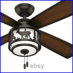 Hunter Fan 52 inch Casual Premier Bronze Indoor Ceiling Fan with Light Kit