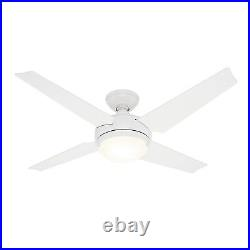 Hunter Fan 52 inch Casual White Indoor Ceiling Fan with Light Kit, 4 Blades