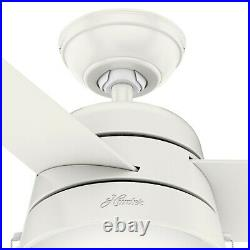 Hunter Fan 52 inch Contemporary Indoor Fresh White Ceiling Fan with Light Kit
