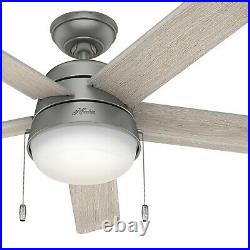 Hunter Fan 52 inch Contemporary Matte Silver Indoor Ceiling Fan with Light Kit