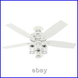 Hunter Fan 52 inch Fresh White Indoor Ceiling Fan with Light Kit and Pull Chain