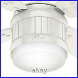 Hunter Fan 52 inch Fresh White Outdoor Ceiling Fan with LED Light Kit and Remote