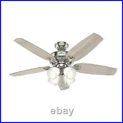 Hunter Fan 52 inch Indoor Casual Brushed Nickel Ceiling Fan with Light Kit