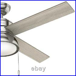 Hunter Fan 52 inch Indoor Contemporary Brushed Nickel Ceiling Fan with Light Kit
