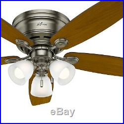 Hunter Fan 52 inch Low Profile Antique Pewter Indoor Ceiling Fan with Light Kit