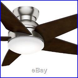 Hunter Fan 52 inch Low Profile Brushed Nickel Indoor Ceiling Fan with Light Kit
