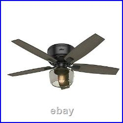Hunter Fan 52 inch Low Profile Matte Black Ceiling Fan with Light Kit and Remote