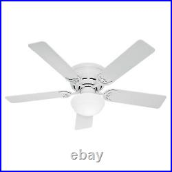 Hunter Fan 52 inch Low Profile White Indoor Ceiling Fan with Light Kit, 5 Blades