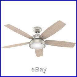 Hunter Fan 52 inch Modern Matte Nickel Indoor/Outdoor Ceiling Fan with Light Kit