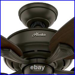 Hunter Fan 52 inch New Bronze Indoor Ceiling Fan with Light Kit and Pull Chain