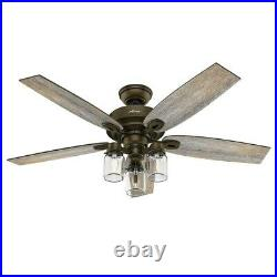 Hunter Fan 52 inch Regal Bronze Indoor Ceiling Fan with Light Kit and Pull Chain
