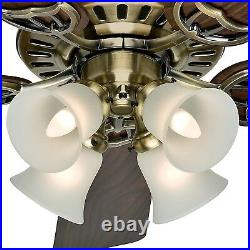 Hunter Fan 52 inch Traditional Antique Brass Indoor Ceiling Fan with Light Kit