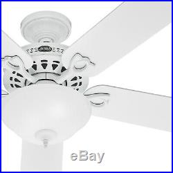 Hunter Fan 52 inch Traditional Ceiling Fan in White with Swirled Marble Light Kit