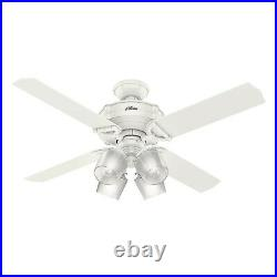 Hunter Fan 52 inch Traditional Fresh White Ceiling Fan with Light Kit and Remote