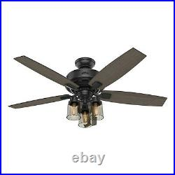Hunter Fan 52 inch Traditional Matte Black Ceiling Fan with Light Kit and Remote