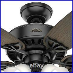 Hunter Fan 52 inch Traditional Matte Black Indoor Ceiling Fan with Light Kit