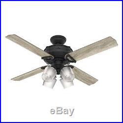 Hunter Fan 52 inch Traditional Natural Iron Ceiling Fan with LED Light Kit