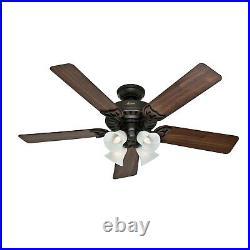 Hunter Fan 52 inch Traditional New Bronze Ceiling fan with Light Kit, 5 Blades