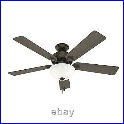 Hunter Fan 52 inch Traditional New Bronze Indoor Ceiling Fan with Light Kit