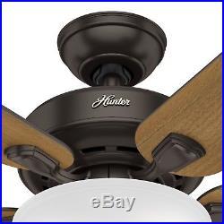 Hunter Fan 52 inch Traditional Premier Bronze Ceiling Fan with Light Kit