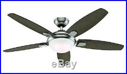 Hunter Fan 54 Contemporary Ceiling Fan in Brushed Nickel with an LED Light Kit