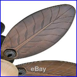 Hunter Fan 54 Outdoor Ceiling Fan with Bowl Light Kit, 5 Palm Leaf Blades