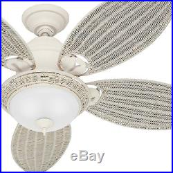 Hunter Fan 54 Tropical Textured White Ceiling Fan with Bowl Light Kit