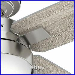 Hunter Fan 54 in Casual Brushed Nickel Ceiling Fan with Light Kit and Pull Chain