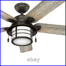 Hunter Fan 54 inch Casual Onyx Bengal Ceiling Fan with Light Kit and Pull Chain