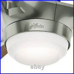 Hunter Fan 54 inch Contemporary Satin Nickel Ceiling Fan with Light Kit, 3 Blade