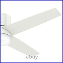 Hunter Fan 54 inch Low Profile Fresh White Ceiling Fan with Light Kit & Remote