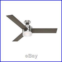 Hunter Fan 54 inch Modern Ceiling Fan with LED Light Kit in Brushed Nickel
