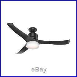 Hunter Fan 54 inch Modern Matte Black Indoor Ceiling Fan with Light Kit