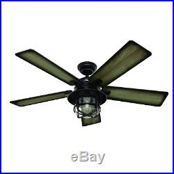 Hunter Fan 54 inch Outdoor Weathered Zinc Ceiling Fan with LED Light Kit & Remote