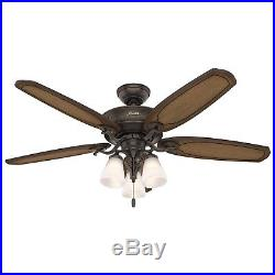 Hunter Fan 54 inch Traditional Onyx Bengal Bronze Indoor Ceiling Fan withLight Kit