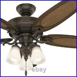 Hunter Fan 54 inch Traditional Onyx Bengal Indoor Ceiling Fan with Light kit