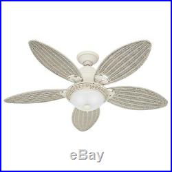 Hunter Fan 54 inch Tropical Textured White Ceiling Fan with Bowl Light Kit