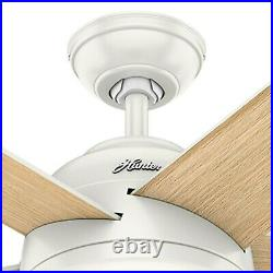 Hunter Fan 60 in Contemporary Fresh White Ceiling Fan with Light Kit and Remote