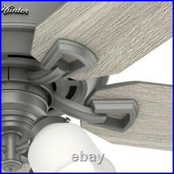 Hunter Fan 60 inch Casual Matte Silver Ceiling Fan with Light Kit and Pull Chain