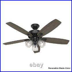 Hunter Highbury II 52 in. LED Indoor Matte Black Ceiling Fan with Light Kit