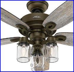 Hunter Indoor Ceiling Fan 52 In Regal Bronze Antique 4906 Cfm Optional Light Kit