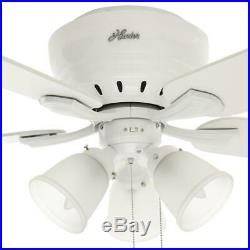Hunter Reinert 52 in. Indoor Low Profile White Ceiling Fan with Light Kit